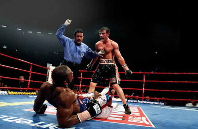 Joe Calzaghe floored Jeff Lacy in a career defining fight. Photo Credit: Boxrec
