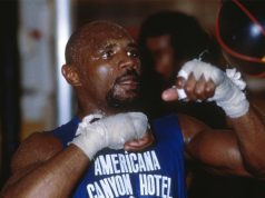 'Marvellous' Marvin Hagler in action on the speedball. Photo Credit: The Independent.
