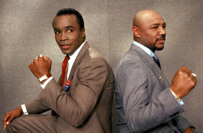 Hagler and 'Sugar' Ray Leonard promoting their bout. Photo Credit: USA Today