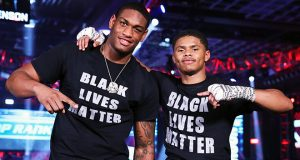 Jared Anderson and Shakur Stevenson showing support for the Black Lives Matter movement after their wins. Photo Credit: Mikey Wiliams