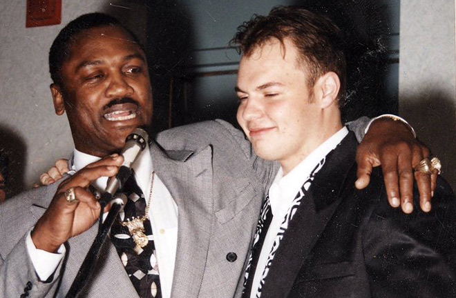Joe Frazier with his one time student and true friend, Richard T Slone. Photo Credit: Richard T Slone