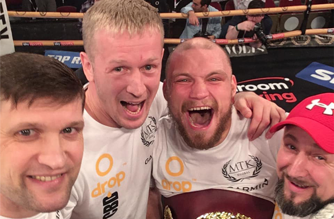 Bolotniks (2nd from right) was left elated after picking up the WBO European strap Photo Credit: Ricards Bolotniks Facebook