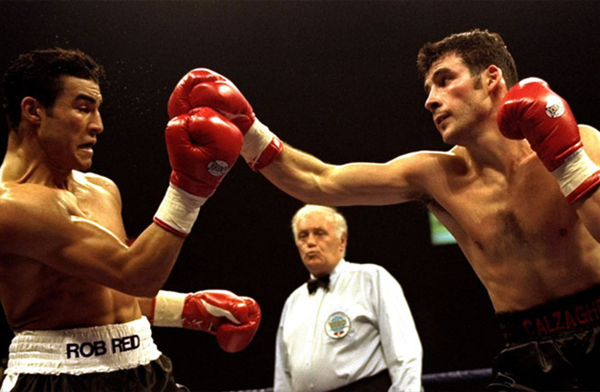Joe Calzaghe and Robin Reid in action. Photo Credit: Sky Sports