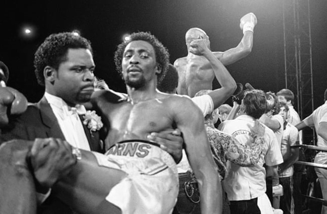 A photo that captured pure ecstasy and sorrow. Hagler vs Hearns will forever live on as one of the greatest fights ever. Photo Credit: The Guardian.