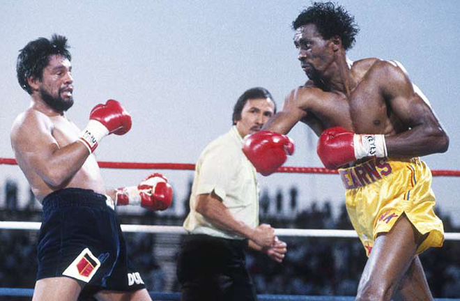 Thomas Hearns brutally stopped Durán inside two rounds at Caesars Palace in 1984 Photo Credit: Boxrec