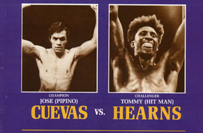 Hearns won his first World title defeating 'Pipino' Cuevas. Photo credit: The Fight City