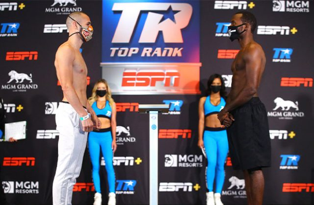 Pedraza and LesPierre face off. Photo Credit: Top Rank