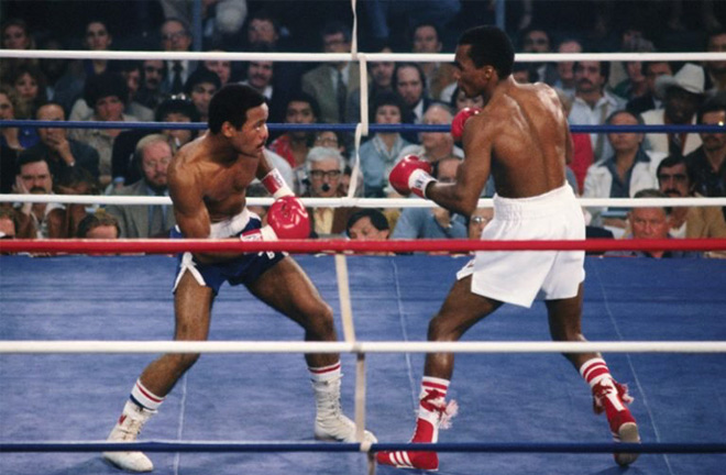 Sugar Ray Leonard claimed his first World title defeating Wilfried Benitez. Photo Credit: Ring TV