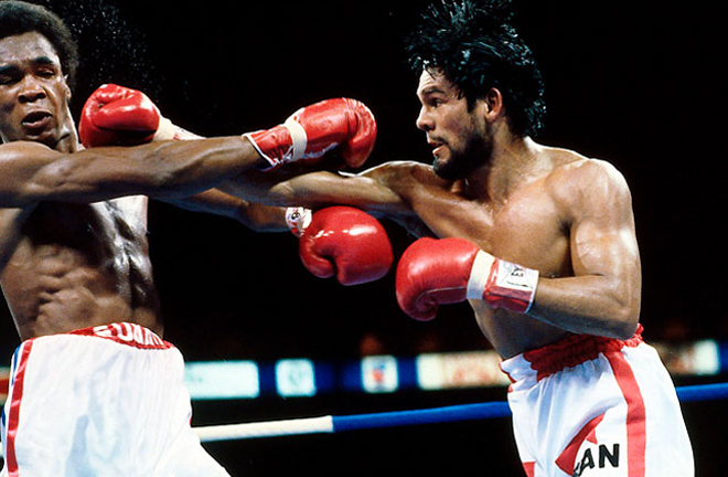 Durán ended Sugar Ray Leonard's unbeaten record in the first of three bouts in 1980 Photo Credit: The Sweet Science
