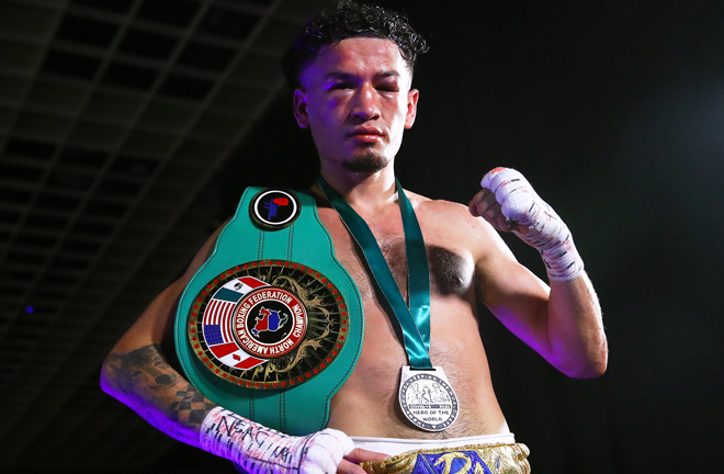 Adam Lopez battled past Luis Coria to claim the NABF Featherweight title Photo Credit: Mikey Williams/Top Rank