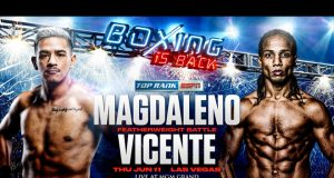Jessie Magdaleno takes on Yenifel Vicente behind closed doors in Las Vegas on Thursday night Photo Credit: Top Rank