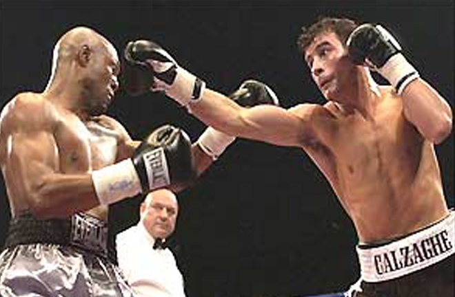 Calzaghe climbed off the canvas for the first time in his career to beat Byron Mitchell in two rounds in 2003 Photo Credit: BBC Sport