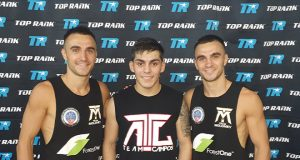 Jason and Andrew Moloney joined by sparring partner Andres Campos.