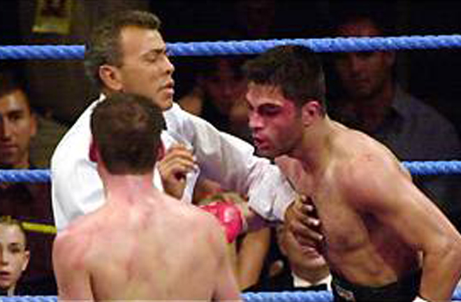 Sheika was stopped in five rounds as Calzaghe retained his title at Wembley Conference Centre Photo Credit: BBC Sport