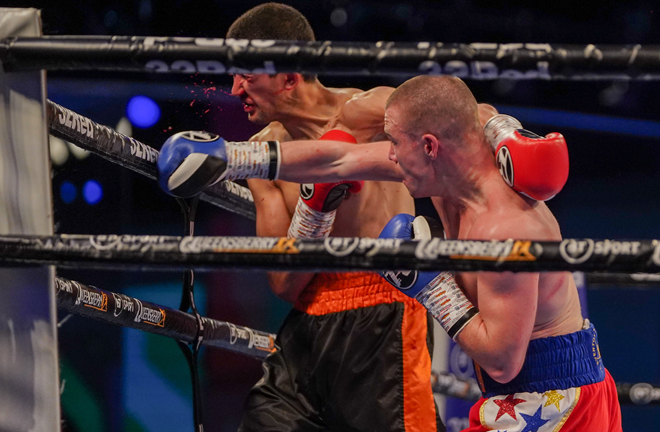 Andrew Cain put on an exciting display forcing Ed Harrison to retire after three rounds Photo Credit: Queensberry Promotions