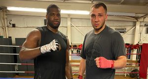 Daniel Dubois and his long time sparring partner Dorion Krasmaru. Photo Credit: Martin Bowers