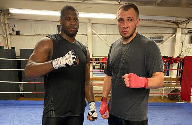 Daniel Dubois and his long time sparring partner Dorion Krasmaru. Photo Credit: Martin Bowers