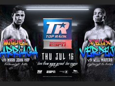 Three-time World title challenger Miguel Marriaga faces Mark John Yap inside The Bubble on Thursday Photo Credit: Top Rank