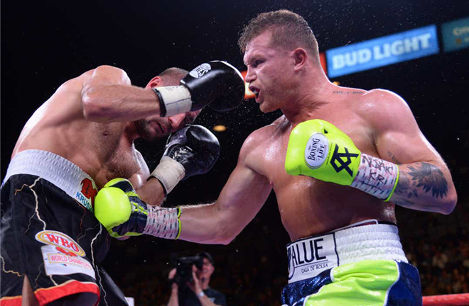 Canelo Alvarez relinquished the WBO title after stopping Kovalev in November Photo Credit: Joe Camporeale, USA TODAY Sports