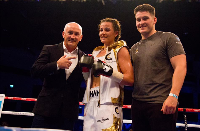 Barry McGuigan, Cameron and Shane McGuigan pictured celebrating a win. Photo Credit: Newschain