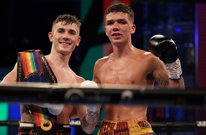 Brad Foster retained his British and Commonwealth titles after a thrilling battle with James Beech Jr at BT Sport Studio Photo Credit: Queensberry Promotions