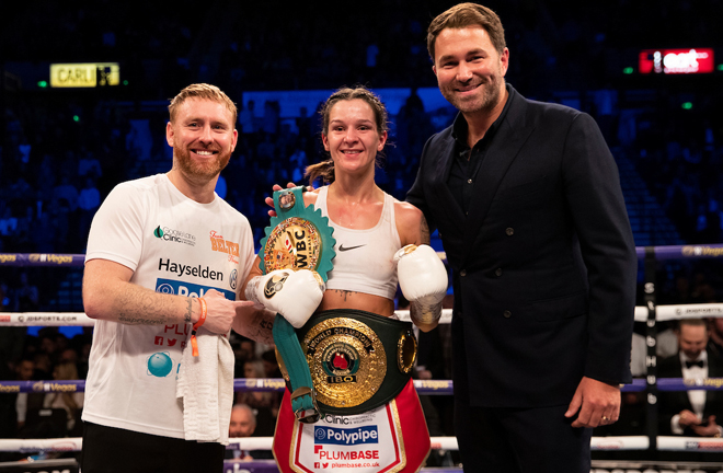 Mayer has called for a clash with WBC Super Featherweight champion Terri Harper in recent months Photo Credit: Mark Robinson/Matchroom Boxing