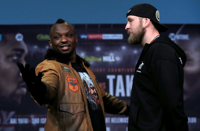 Helenius facing off against Dillian Whyte. Photo Credit: The Sun