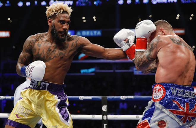 Jarrett Hurd proved too strong for Welborn in a brave World title attempt in 2018 Photo Credit: World Boxing News