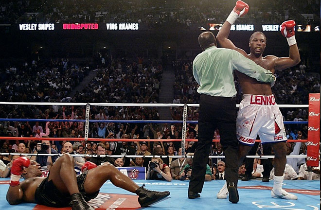 Lennox Lewis defeated Mike Tyson in dramatic fashion. Photo Credit: WBN