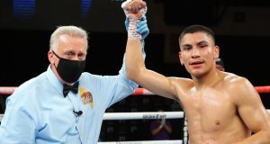 Vergil Ortiz stormed to a 16th straight stoppage victory against Samuel Vargas in Indio Photo Credit: Tom Hogan/HoganPhotos/Golden Boy Promotions