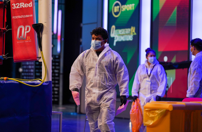 Staff at BT Sport Studios were dressed in full PPE in line with measures set by the board of control Photo Credit: Queensberry Promotions