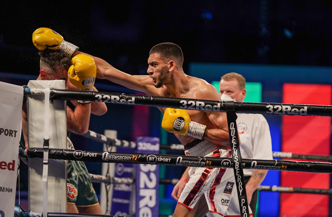 Hamzah Sheeraz proved far too strong for Paul Kean on route to retaining his WBO European strap Photo Credit: Queensberry Promotions