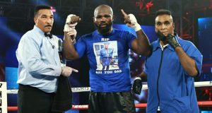 Takam dedicated the victory to his late father who passed away last week Photo Credit: Mikey Williams/Top Rank