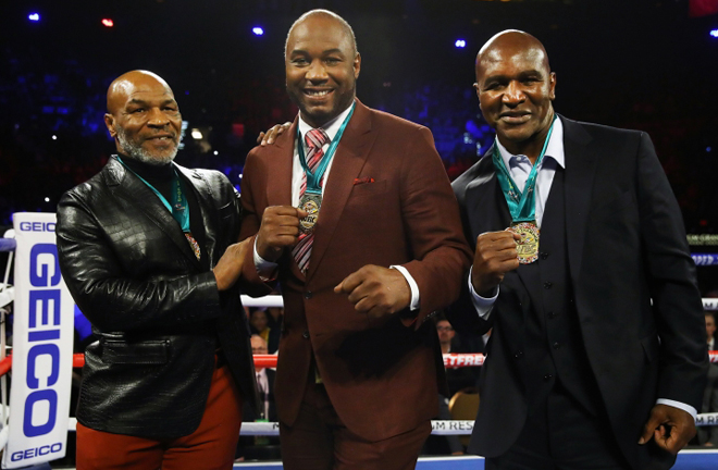Former rivals Tyson, Lewis and Holyfield reunited at the MGM Grand, Las Vegas in February Photo Credit: Boxing Scene