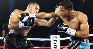Felix Verdejo scored an impressive first round KO over Will Madera after being elevated to main event status in Las Vegas Photo Credit: Mikey Williams/Top Rank
