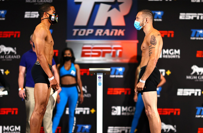 Verdejo faced off with Madera ahead of their main event clash on ESPN Photo Credit: Mikey Williams/Top Rank