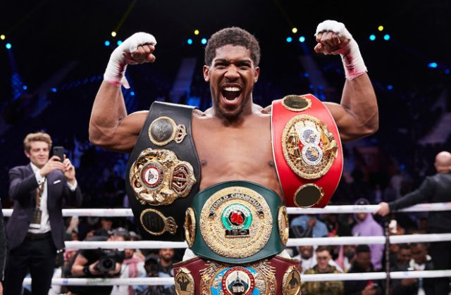 Anthony Joshua was in attendance to witness Dillian Whyte's shock loss to Alexander Povetkin on Saturday Photo Credit: Mark Robinson/Matchroom Boxing
