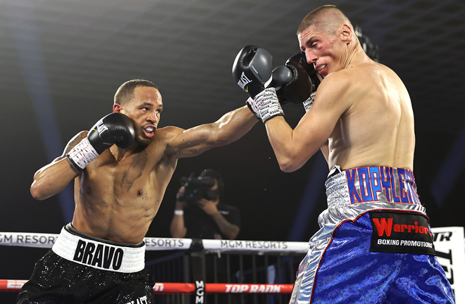 Rob Brant got back to winning ways with Vitalii Kopylenko retiring after five rounds Photo Credit: Mikey Williams/Top Rank