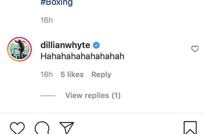 Dillian Whyte responds to Daniel Dubois call out via the Pro Boxing Fans Instagram page.