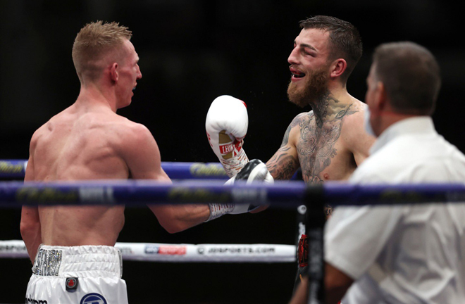 The British pair embraced after the final bell following a pulsating battle Photo Credit: Mark Robinson/Matchroom Boxing