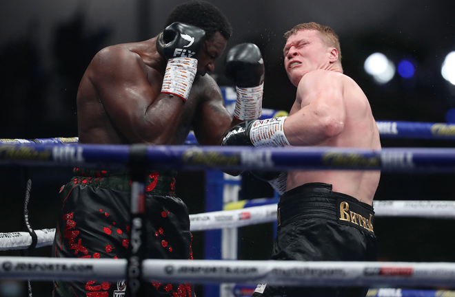 Whyte floored Povetkin twice in the fourth round Photo Credit: Mark Robinson/Matchroom Boxing