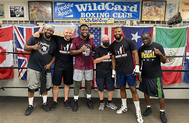 Jonathan Banks, Amer Abdallah, Viddal Riley, Freddie Roach, Badou Jack and Jeff Mayweather (left to right). Photo Credit: Amer Abdallah