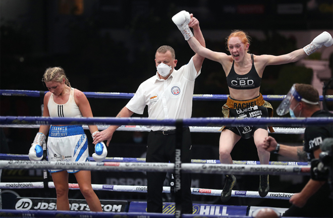 Rachel Ball could not hide her delight after securing a points win over Courtenay Photo Credit: Mark Robinson/Matchroom Boxing