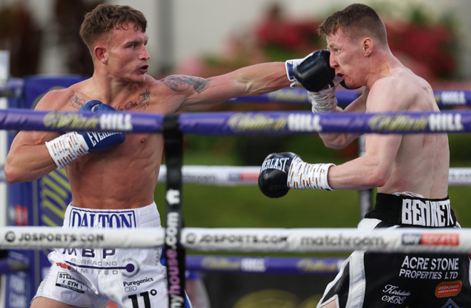 Dalton Smith landed the first KO of Fight Camp to halt Nathan Bennett inside five rounds Photo Credit: Mark Robinson/Matchroom Boxing