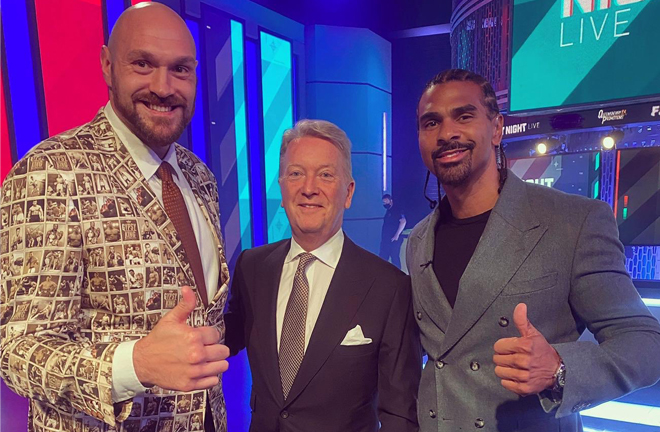 Former rivals Tyson Fury and David Haye were in attendance alongside promoter Frank Warren Photo Credit: Twitter @davidhaye