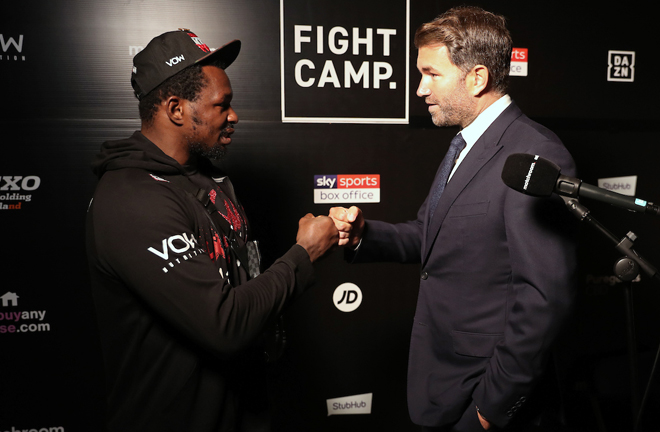 Eddie Hearn confirmed he would invoke an immediate rematch following Whyte's shock defeat Photo Credit: Mark Robinson/Matchroom Boxing