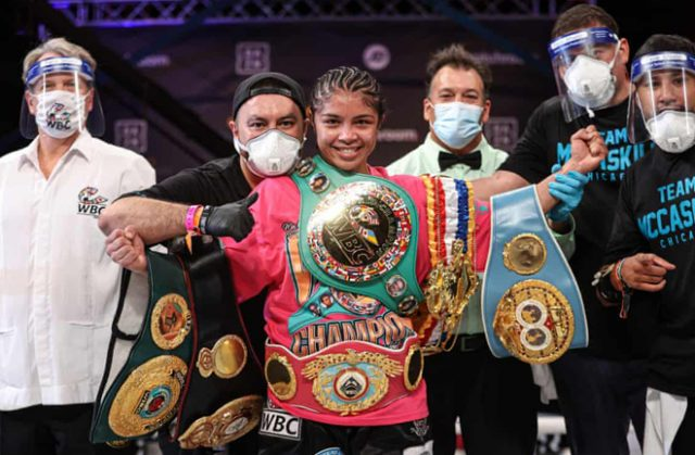 Jessica McCaskill dethroned Cecilia Brækhus to become undisputed Welterweight world champion in Tulsa Photo Credit: Ed Mulholland/Matchroom Boxing
