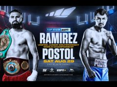 Jose Ramirez will defend his unified Light-Welterweight titles against Viktor Postol on August 29 in Las Vegas Photo Credit: Top Rank