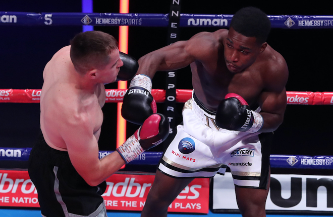 Idris Virgo secured the first KO of his career against Josh Hodgins Photo Credit: Courtesy of Hennessy Sports