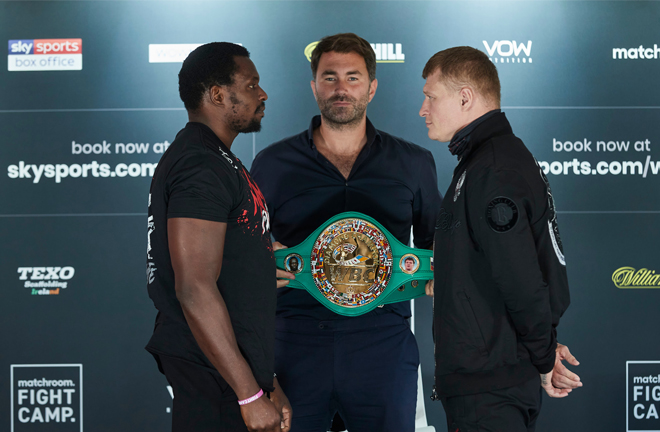 Whyte and Povetkin came face-to-face at Thursday's press conference ahead of their crunch clash Photo Credit: Mark Robinson/Matchroom Boxing